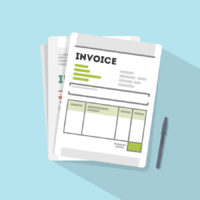 Invoice concept illustration. Invoice paper documents on the table.
