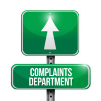 complaints department road sign illustration design over a white background