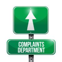 complaints department road sign illustration design over a white background