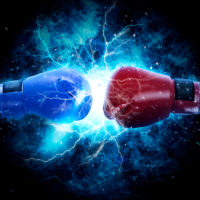 Pair of boxing gloves hangs off the boxing ring on electricity light background