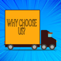 Handwriting text Why Choose Us Question. Conceptual photo list of advantages and disadvantages to select product service Delivery Lorry Truck with Blank Covered Back Container to Transport Goods