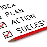 Idea, plan, action, success. List with the check marks. Business strategy: idea, plan, action, success. Red pencil and a checklist with red marks. 3D Illustration