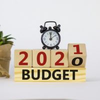 Business And New Year Concept Of Budget Planning 2021. Fliped Wo