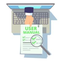 Online user guide. Web manual, hand from laptop screen holding instruction or info. Flat computer with booklet, client service vector illustration. Online information instruction, help service guide